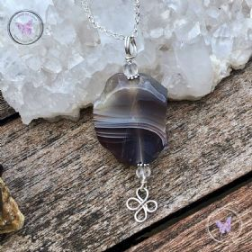 Botswana Agate Slice Pendant Necklace 02
